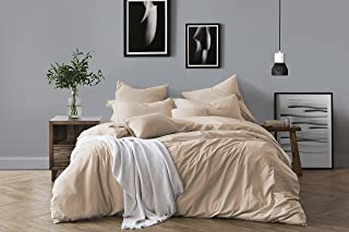 Swift Home 100% Cotton Washed Yarn Dyed Chambray Duvet Cover & Sham Bedding Set, Ultra-Soft Luxury & Natural Wrinkled Look – Full/Queen, Almond
