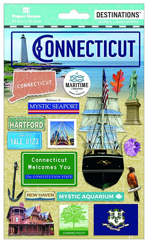 Paper House Productions Travel Connecticut 2D Stickers, 3-Pack