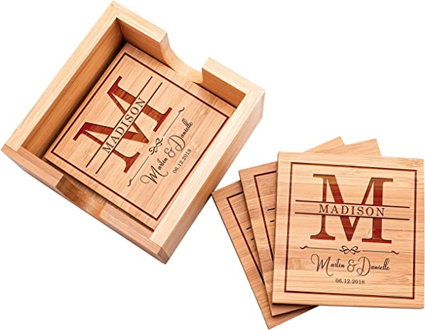 Customization Mill Customized Bamboo Coasters For Drinks 4 X 4 4 Pcs Bamboo Set Of 4 Personalized Coaster With Holder And Engraving Wooden Bamboo Coasters D1