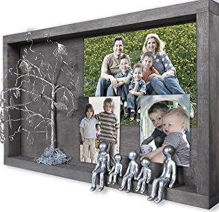 5-Figurines Family Picture Frame Collages for Wall 4 6 8 10 12 Years Tin Iron Silver Anniversary Willow Family Tree Wedding Photo Frames Personalized Shadow Box Display Gifts for Inlaws Son OP-C-5-R