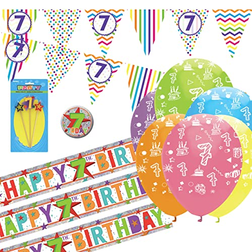 girls 7th birthday party pack giant badge banner balloons candle pink 7 today
