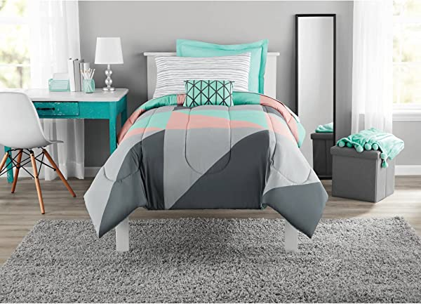 Fun And Bold Mainstays Gray And Teal Bed In A Bag Modern Comforter Set Geometric Triangle Print With Teal Blue Gray And Pink Coral Great For Dorms And Kid S Rooms Twin Twin XL