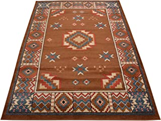 Nevita Collection Southwestern Native American Design Area Rug Rugs Geometric (Tribal Brown, 8 x 10)
