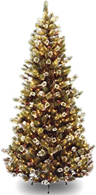 National Tree Company 6.5 ft. Glittery Pine Slim Tree with Clear Lights, Green