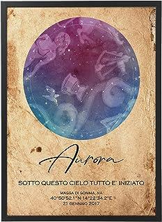 Mappa Stellare Personalizzata con Cornice - Quadro varie dimensioni vari colori Made in Italy Star Poster Mod.004