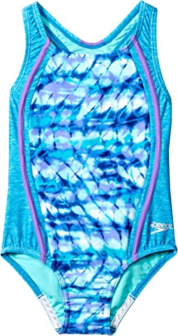 Speedo Kids Tie-Dye Sky Sport Splice One-Piece Swimsuit (Little Kids)