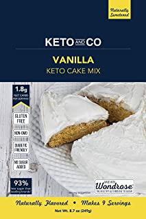 Vanilla Keto Cake Mix by Keto and Co | Just 1.8g Net Carbs Per Serving | Gluten Free, Low Carb, No Added Sugar, Naturally Sweetened | (Vanilla Cake)