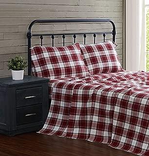 London Fog Cotton Flannel Sheet Set, Queen, Red Plaid