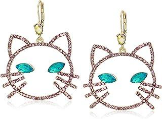 Betsey Johnson Women's Pink Stone Open Cat Face Drop Earrings, One Size