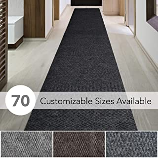 iCustomRug Spartan Weather Warrior Duty Indoor/Outdoor Utility Berber Loop Carpet Runner, Area Rugs, 3ft,4ft,6ft Widths 70 Custom Sizes with Natural Non-Slip Rubber Backing 3' X 8' in Black