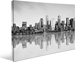 "JP London BWMCNV2214 2"" Thick Heavyweight Black & White Gallery Wrap Canvas The Windy City Chicago Skyline Wallpaper, 36 x..."