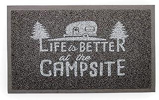 "Camco Life Is Better at The Campsite Outdoor & Indoor Welcome Mat - Weather and Mildew Resistant Doormat | Traps Dirt and Liquid | Spongey Comfortable Feel | Measures 26 ½ "" x 15"" - Gray (53200)"