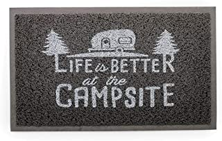 Camco Life Is Better at The Campsite Outdoor & Indoor Welcome Mat - Weather and Mildew Resistant Doormat   Traps Dirt and Liquid   Spongey Comfortable Feel   Measures 26 ½