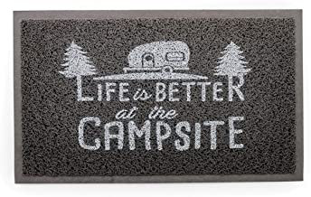 Camco Life is Better at The Campsite Outdoor & Indoor Welcome Mat - Weather and Mildew Resistant Doormat   Traps Dirt and ...