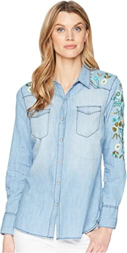 Long Sleeve Lightweight Denim Shirt w/ Embroidery Detail
