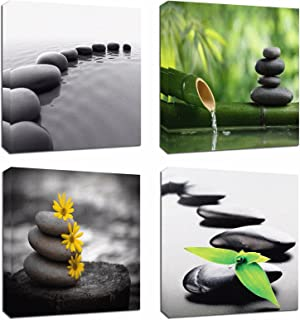 4Pcs 12×12 Canvas Wood Stretched Zen Stone Garden Rocks Spa Bamboo Fountain Japan..