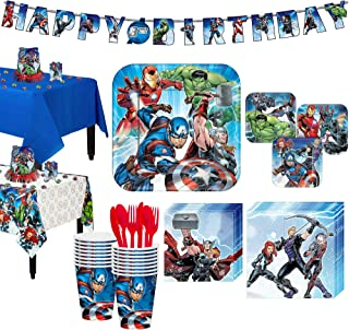 Party City Avengers Tableware Party Supplies for 16 Guests, Include Plates, Napkins, Utensils, a Banner, and Decorations