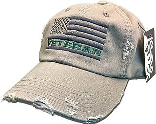 Veteran American Flag Hat Olive Green USA OIF Vietnam combat olive drab  distressed cap 1419b9857e48