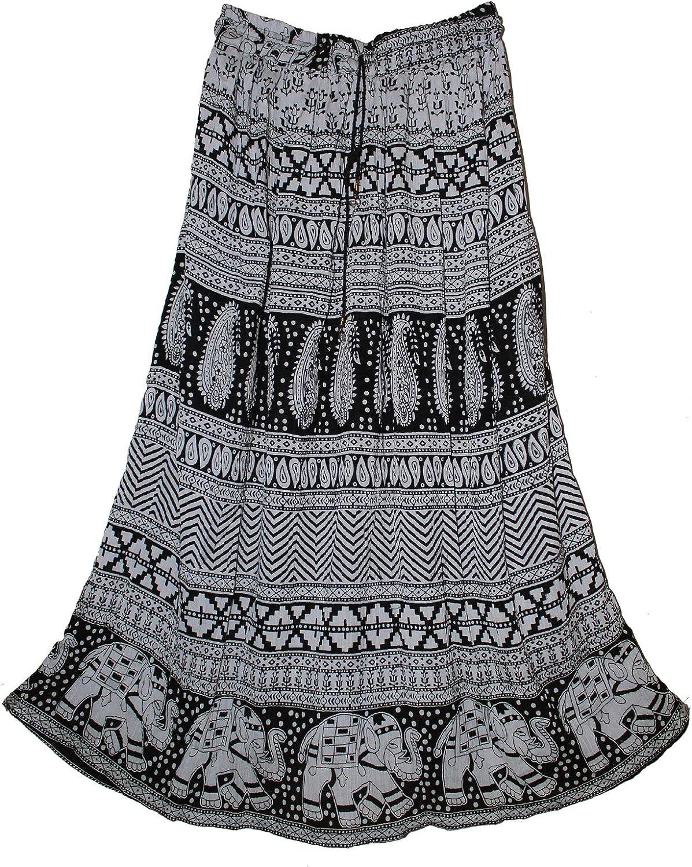 FOI Rayon Indian Hippy Wrinkle Skirt Kjol Jupe Rock Gypsy Retro Boho Falda Women White