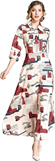 LAI MENG FIVE CATS Women's Floral Print Maxi Dress Casual Button Up Long Shirts Maxi Dress