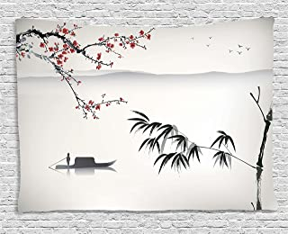 Ambesonne House Decor Collection, Chinese Waterscape Painting Artwork Print with Bamboo Sakura Trees Birds Boat River, Bedroom Living Room Dorm Wall Hanging Tapestry, 60 X 40 Inches, Black Gray