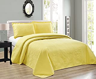 Elegant Home Beautiful Over Sized Yellow Solid Color Embossed Floral Striped 3 Piece Queen/Full Size Coverlet Bedspread (Q...