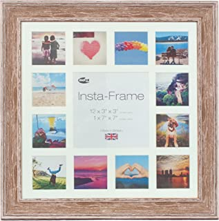 Inov8 Framing Inov8 Insta Lrg Wash Walnut 16x16 Inch Picture Frame for 13 Instagram/Square Photos, Mount with White Inset