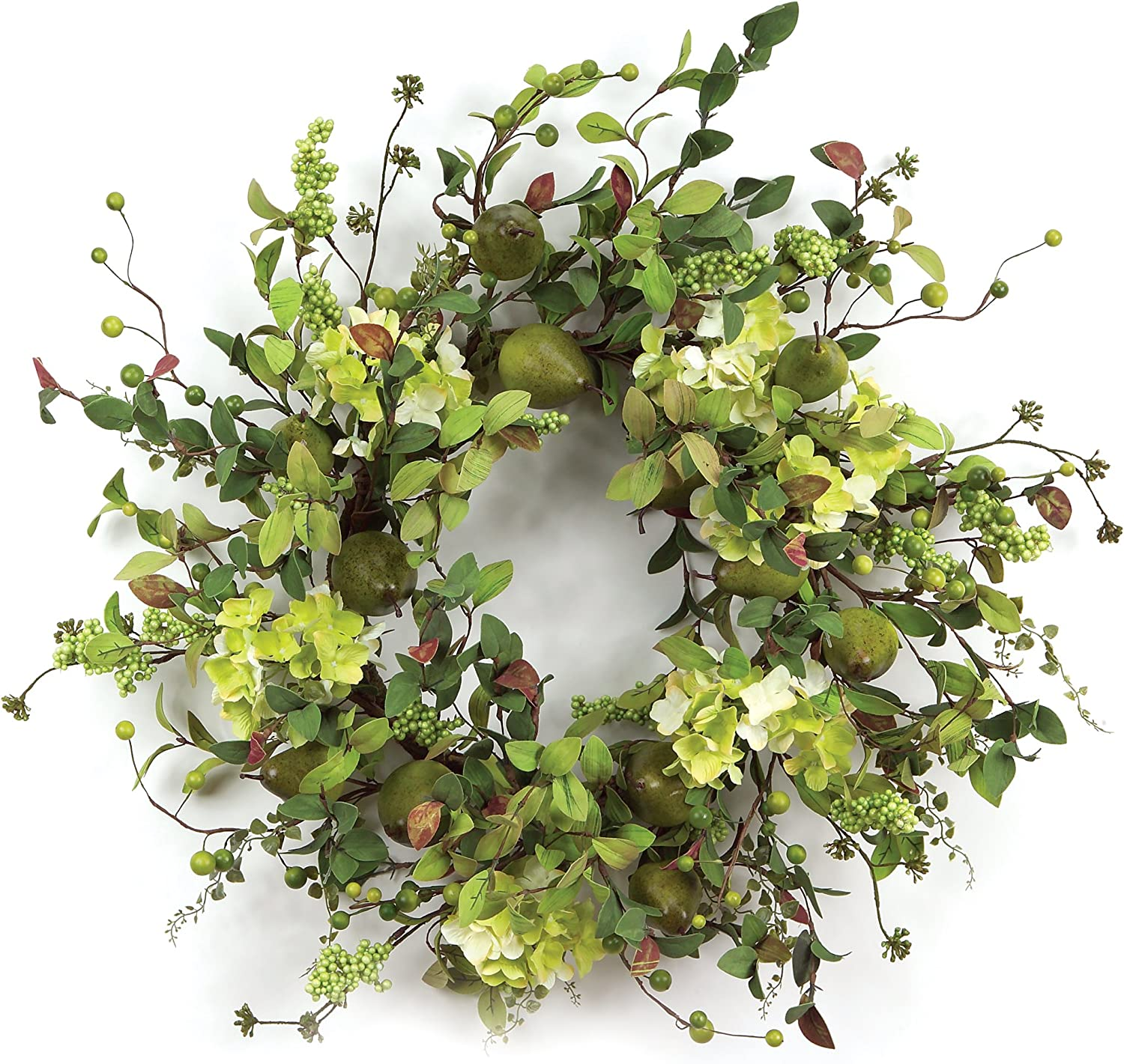 Melpink International Pear Hydrangea and Berry Polyester Wreath