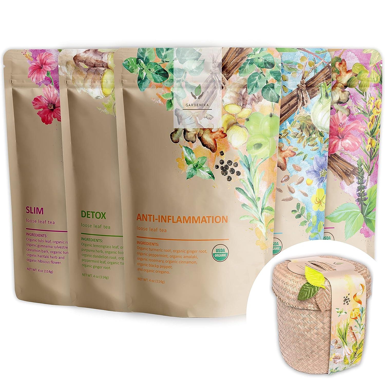 Financial sales Ranking TOP5 sale Gardenika Herbal Loose Leaf Tea Sampler - Gift Set USDA Organic