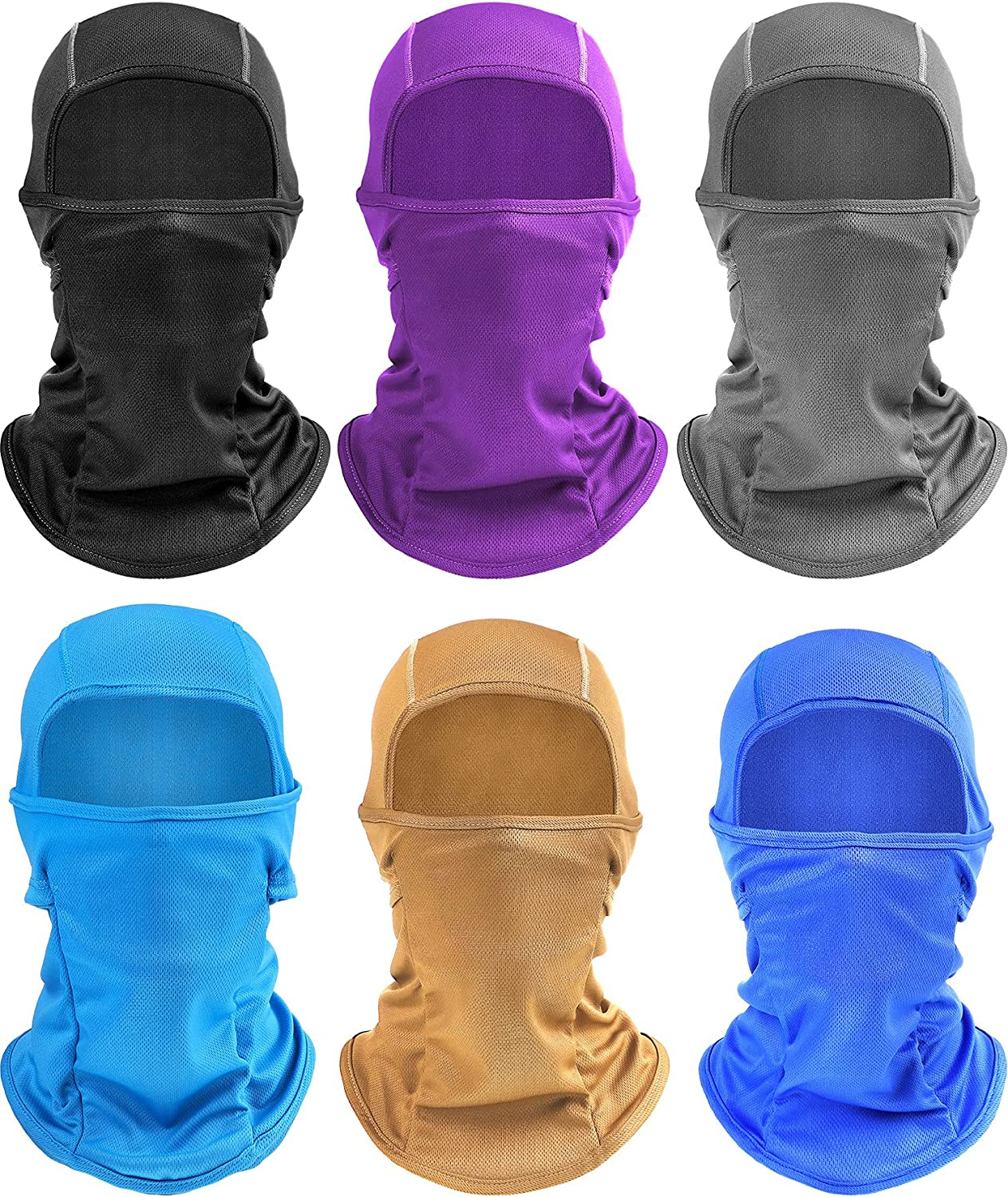 6 Pieces UV Sun Protection Balaclava Windproof Ski Full Face Covering Adjustable Cooling Head Cover for Men Women Outdoor Skiing Running Hiking Motorcycle Cycling