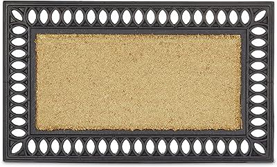 Relaxdays Anti-Slip Doormat Made of Coir & Rubber, Rectangular Floor Mat Welcome Mat Weather-Proof & Anti-Slip Door Mat: 2 x 75 x 45 cm, Brown / Black