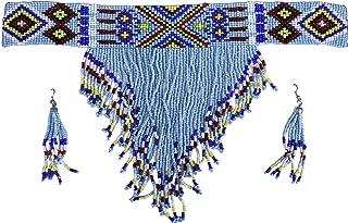Handcrafted Beaded Native American Tribal Choker and Earrings Set