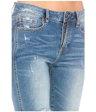 Miss Me Mid-Rise Biker Shorts in Medium Blue (Medium Blue) Women