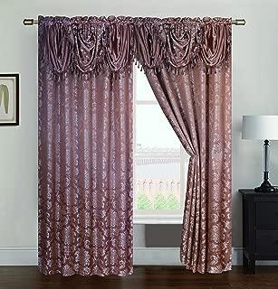 RT Designers Collection Wilton Jacquard Rod Pocket Single Curtain Panel, Gold