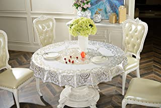 """SEPARO Round Vinyl Oilcloth Lace Tablecloth Waterproof Plastic Wipeable Spillproof Peva Reusable Heavy Duty PVC Tablecloth for Picnic (Dream Paris Sparkling Silver, 60"""" Round)"""
