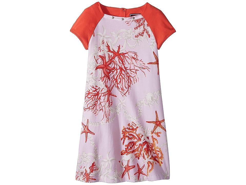 Versace Kids Short Sleeve Dress Starfish Print (Big Kids) (Pink Print) Girl