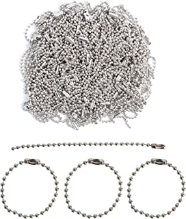 Happy Shop 200 Pcs 100mm Long Bead Connector Clasp Ball Chain Keychain Tag Key Rings,2.4 mm Diameter Adjustable Antiqued Metal Bead Steel Chain