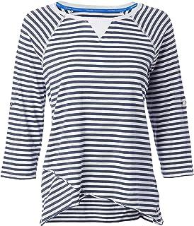Calvin Klein Women's Venice Beach Stripe 3/4 Sleeve Roll Tab