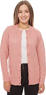 Knit Minded Long Sleeve Two Pocket Cable Knit Cardigan Sweater Pink L