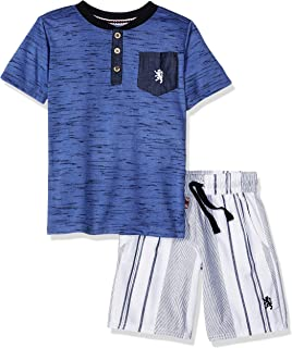 English Laundry Boys Short Sleeve Striped Henley T-Shirt and Short Set Shorts Set