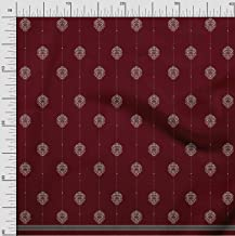 Soimoi Red Poly Crepe Fabric Dot,Leaves & Floral Panel Print Fabric by The Yard 42 Inch Wide