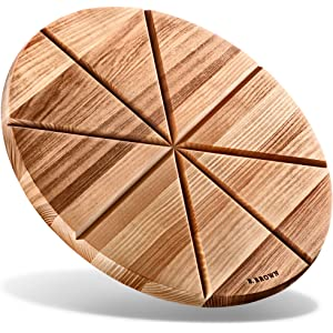 LloydPans Wood Fiber Laminate 12 inch Round Pizza Serving//Cutting Board with handle