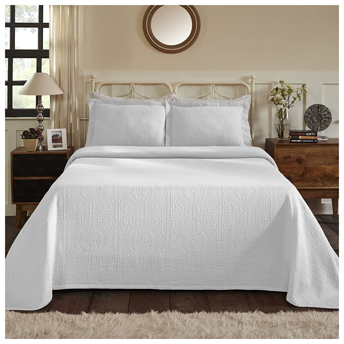 Superior 100% Cotton Medallion Bedspread with Shams, All-Season Premium Cotton Matelassé Jacquard Bedding, Quilted-look Floral Medallion Pattern - Queen, White