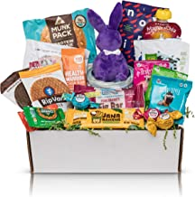 Deluxe Non GMO Healthy Candy Chocolate Gift Box: Mix of Natural Organic Healthy Snacks & Chocolate Treats With Cute Plush Bunny. Perfect Gift For Mom | 20 Count