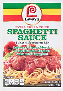 Lawry's Extra Rich & Thick Spaghetti Sauce Spices & Seasonings Mix, 1.42 oz (Pack of 12)