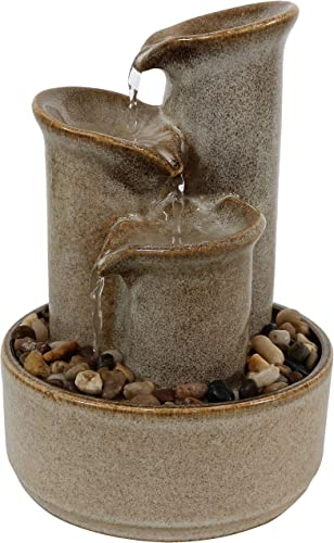 popular Sunnydaze 10-Inch Tiered Carafe lowest Smooth Glazed Ceramic Indoor Tabletop Water Fountain - Soothing and Relaxing Water Sound - Mini Decorative Water Fountain for Home or sale Office online