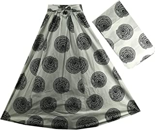 Decoraapparel African Wax Skirts Long Maxi Ankara High Waist Skirts Black White Print One Size