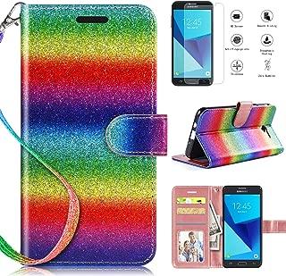Samsung Galaxy J3 Prime Case,Galaxy J3 Luna Pro Case,J3 Emerge/J3 Eclipse/J3 2017/Sol 2 Wallet Case with [HD Screen Protector], Glitter [Kickstand] [Magnetic Closure] and [Wrist Strap] Case,Rainbow
