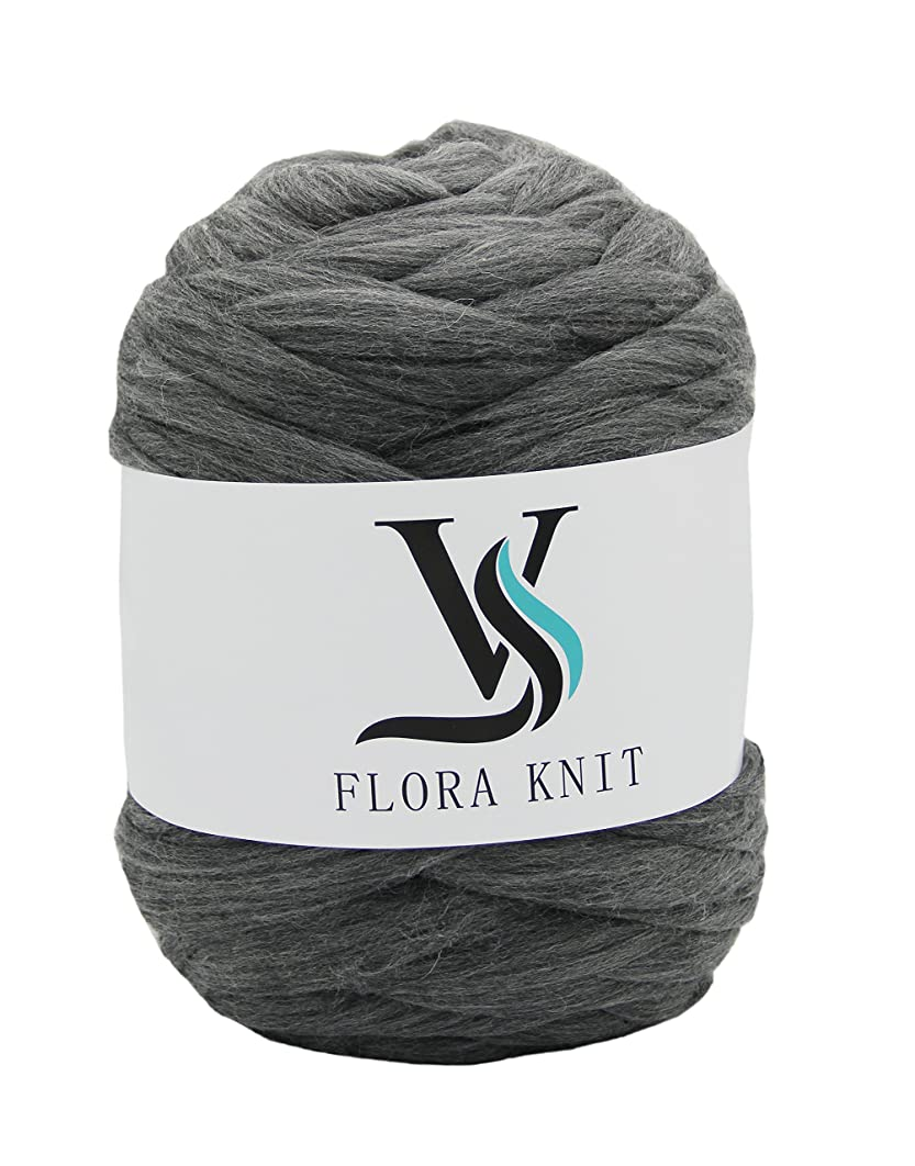 100% Wool Super Chunky Yarn - Non-Mulesed Merino Wool Roving Top,Extreme Big for Arm Knitting Knit Blankets Throws (4.4 LBS -88in, Gray)