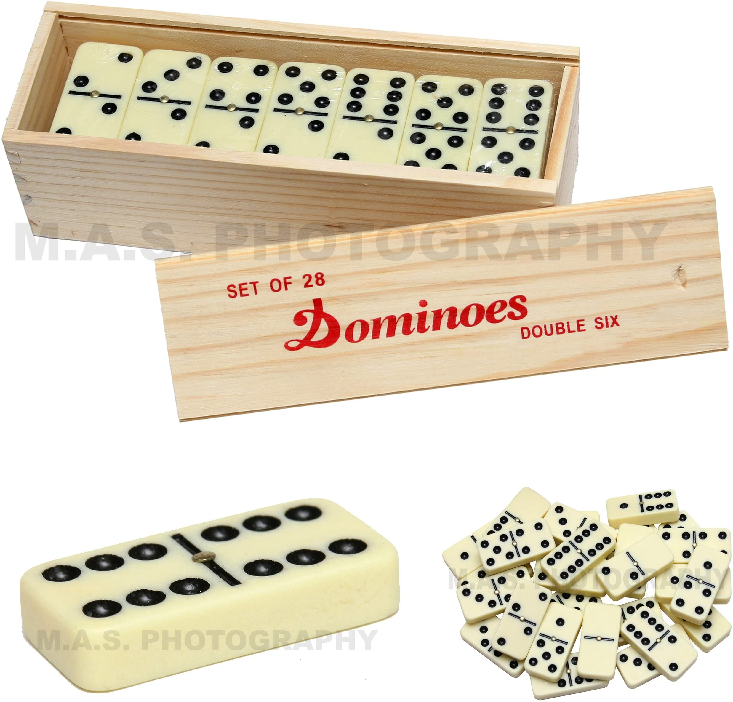 JUMBO size Double 6 - TWO TONE Dominoes in Aluminum Case w// Spinner peg 28